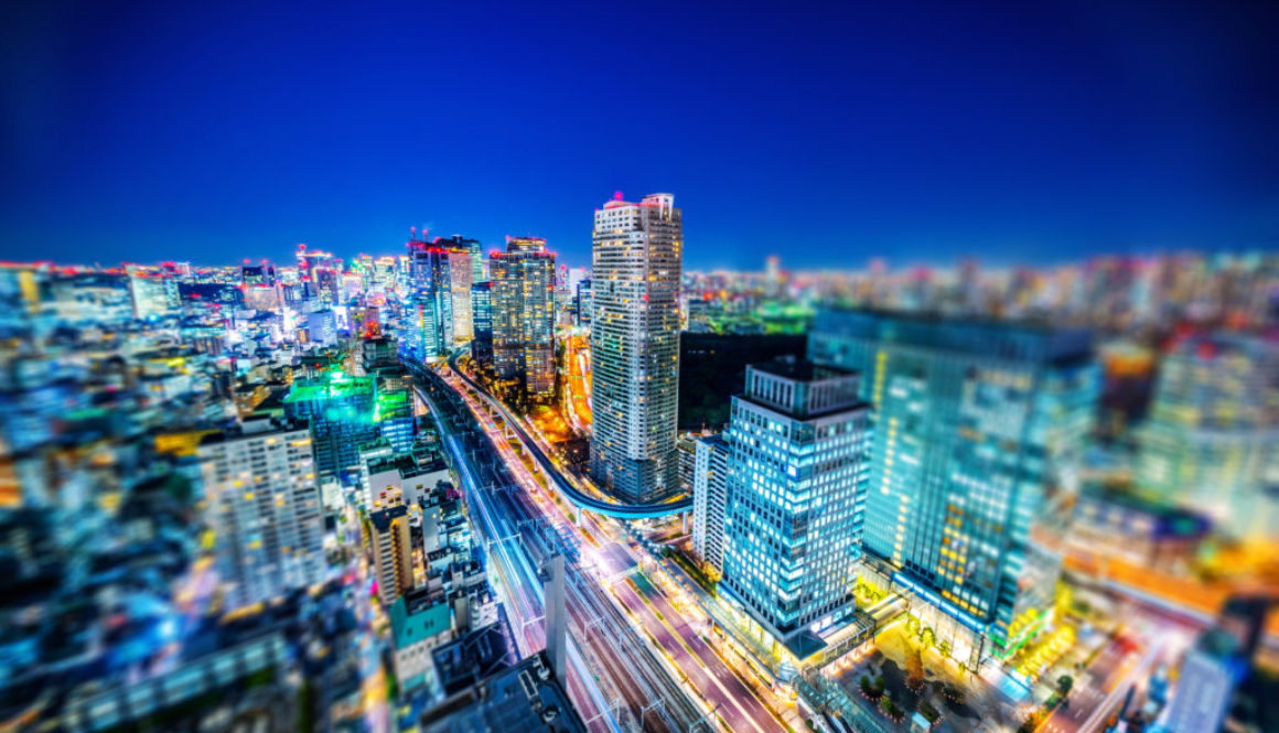 tokyo city night view & highway with tilt shift